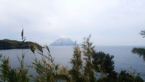 竹島の竹越しに眺める、お隣の硫黄島