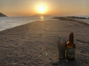 夕陽と屋久島ビール!