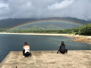 ダイビング後の虹ー。