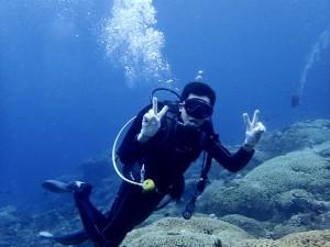 緊張してた体験ダイバーさんも良い海にこの笑顔♪